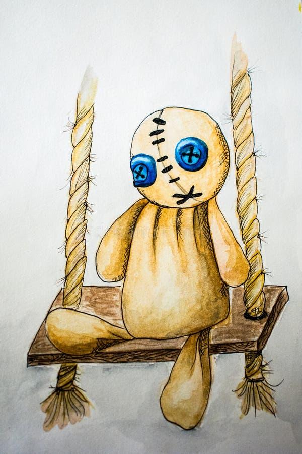 Boneca do vudu da ilustra??o no desenho da aquarela do balan?o fotos de stock royalty free