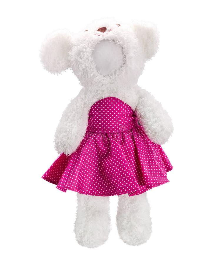 Boneca dos ursos de peluche isolada no fundo branco E Brinquedo vazio da cara para o projeto fotografia de stock