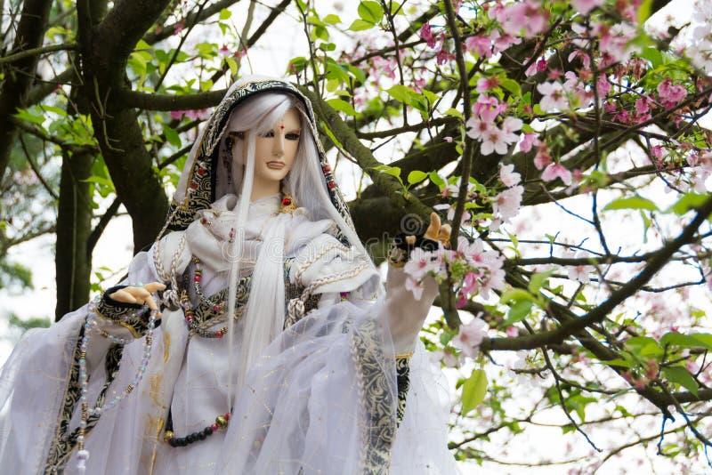 Boneca e flor de cerejeira fotografia de stock royalty free