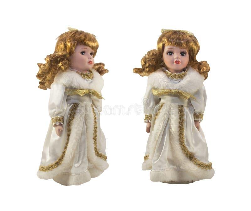 Boneca isolada da porcelana no vestido branco fotos de stock
