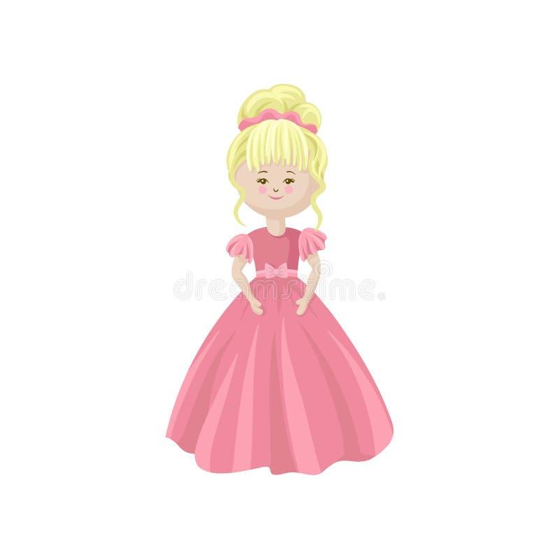 Boneca macia loura bonita da princesa em um vestido cor-de-rosa, costurando a ilustração do vetor dos desenhos animados do brinqu ilustração royalty free