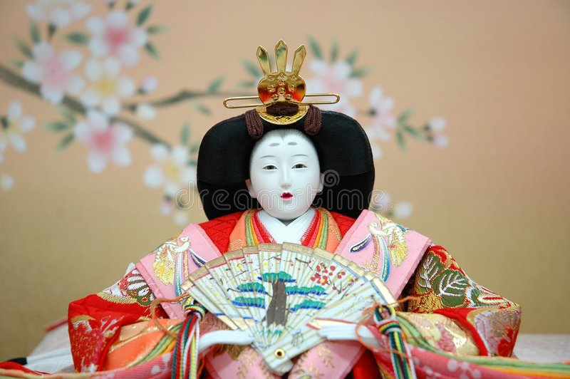 Boneca tradicional japonesa - fêmea foto de stock