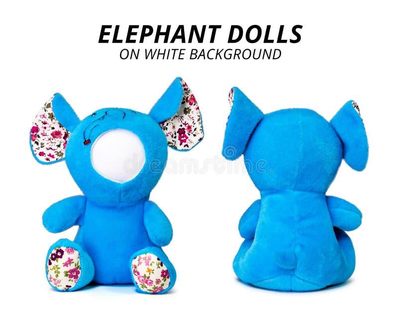Bonecas azuis do elefante isoladas no fundo branco Cara vazia para seu projeto imagens de stock royalty free