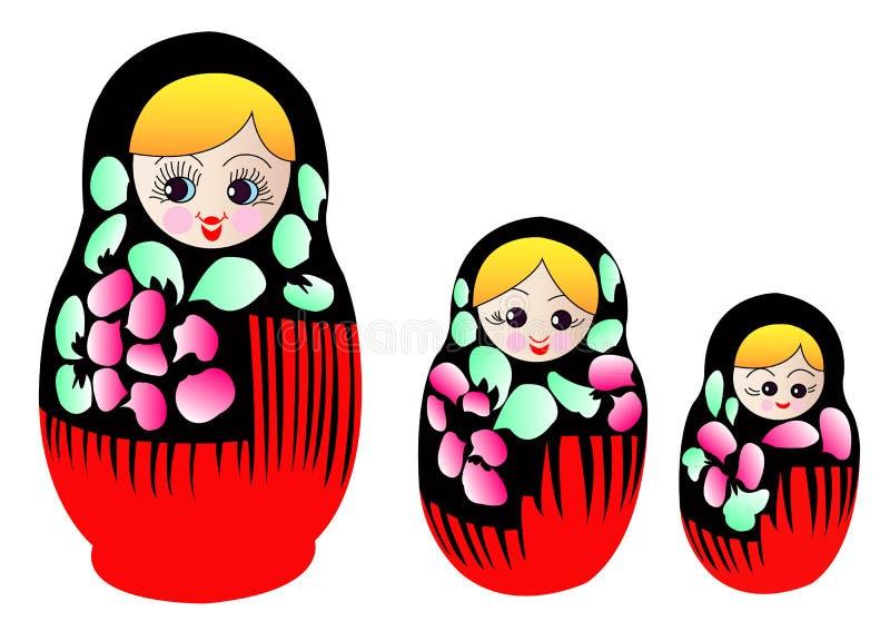 Bonecas de Matryoshka no vetor ilustração royalty free
