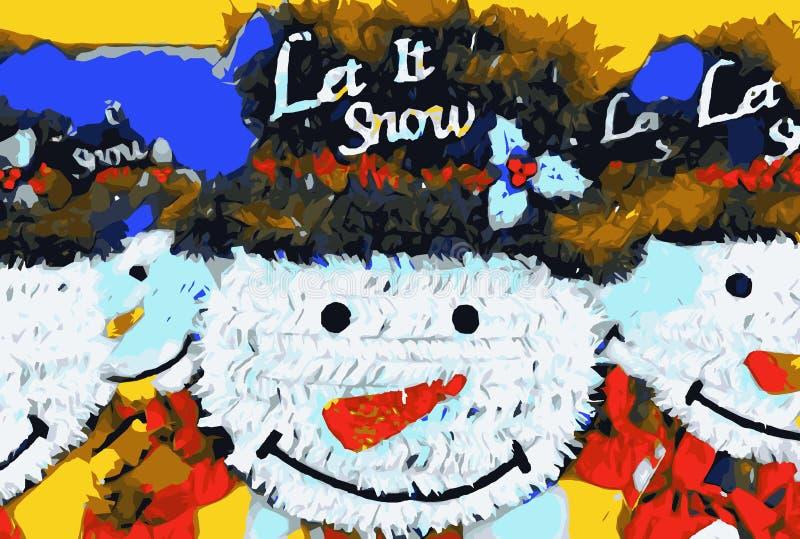 Bonecas do boneco de neve com fundo do chapéu ilustração stock