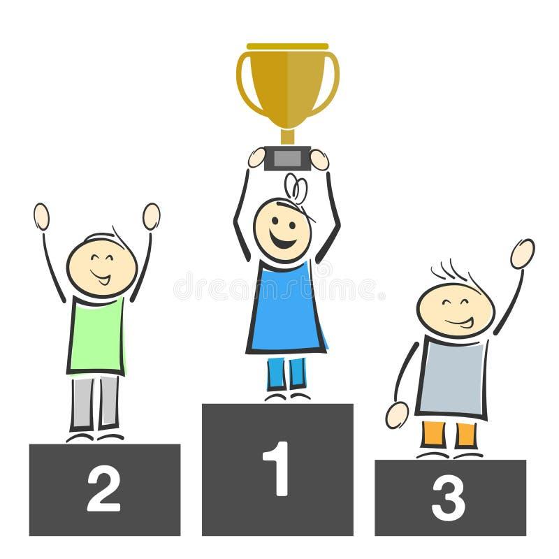 Bonecas sorridentes no pódio dos vencedores, um troféu de segurar ilustração do vetor