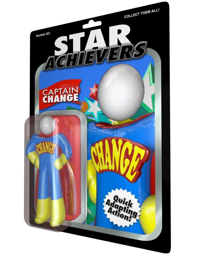 Boneco de ação da mudança - ajuste e adapte com líder bem sucedido ilustração stock