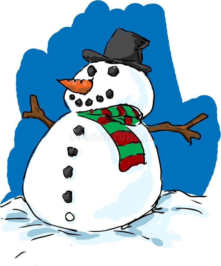 Boneco de neve bem vestido ilustração stock