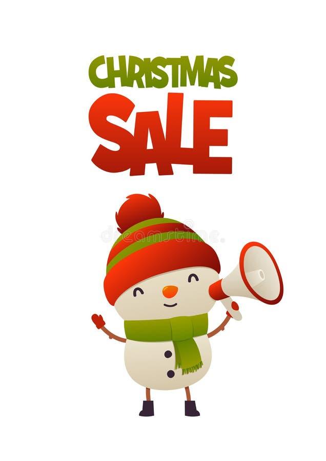 Boneco de neve bonito alegre dos desenhos animados com venda do Natal do megafone e do texto ilustração do vetor