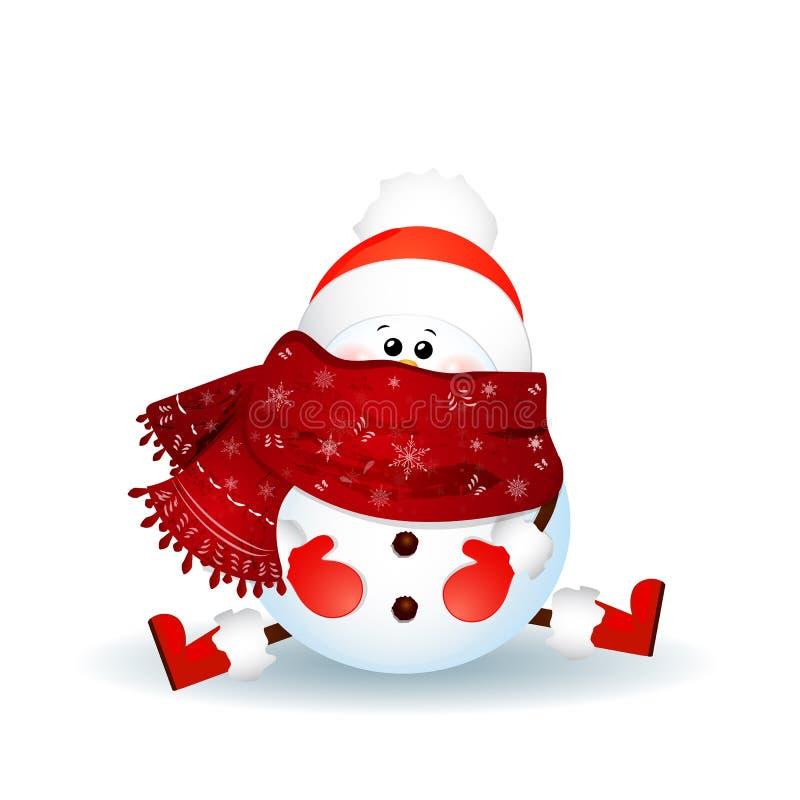 Boneco de neve bonito com lenço, chapéu vermelho de Papai Noel que senta-se no assoalho isolado ilustração royalty free