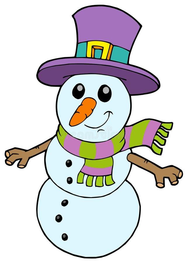 Boneco de neve bonito dos desenhos animados ilustração stock