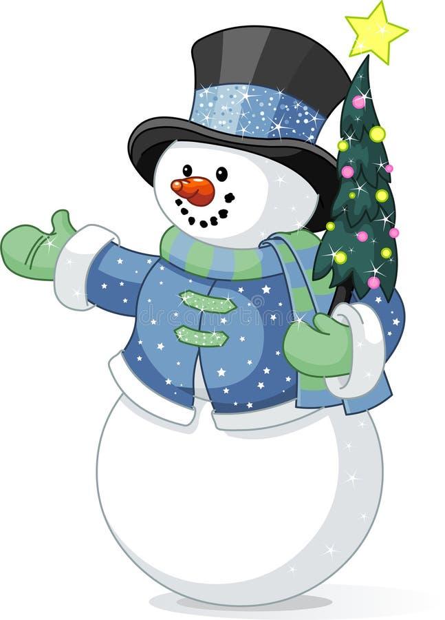 Boneco de neve com árvore de Natal ilustração stock