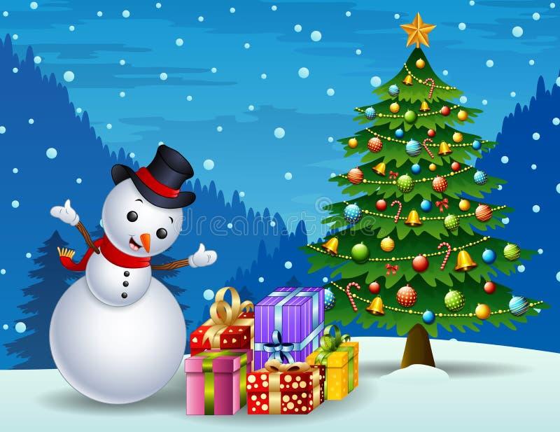 Boneco de neve com árvore de Natal e caixas de presente no fundo da noite ilustração stock