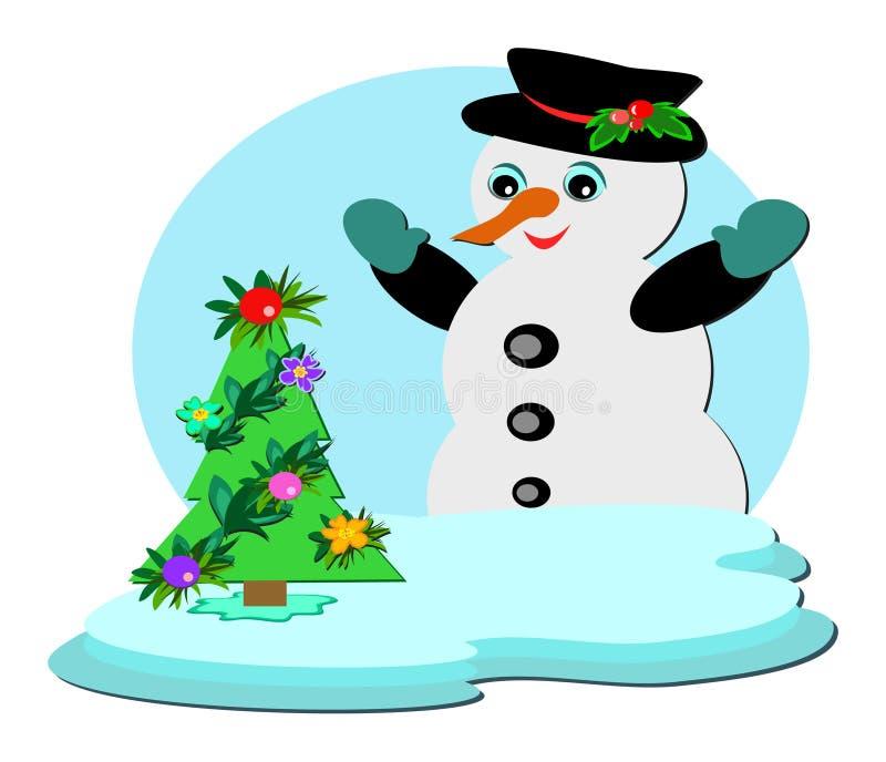 Boneco de neve com a árvore de Natal tropical ilustração do vetor