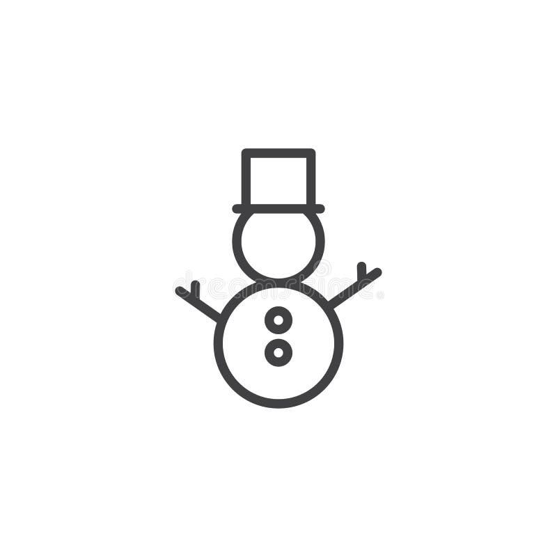 Boneco de neve com ícone do esboço do chapéu ilustração do vetor