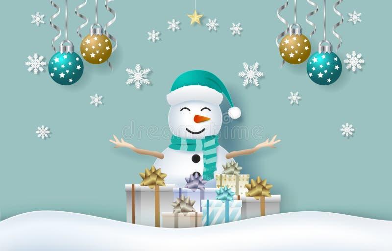 Boneco de neve com caixas de presente e floco de neve no fundo verde ilustração royalty free