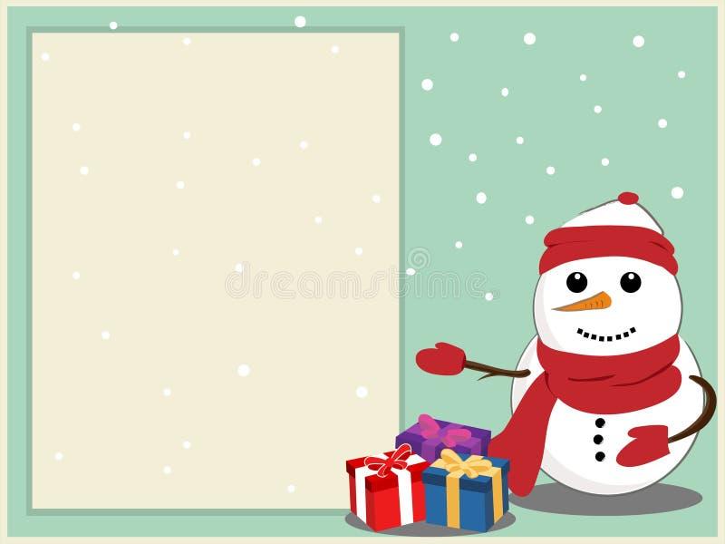 Boneco de neve com cartão fotografia de stock