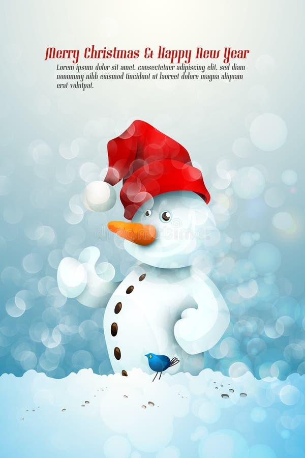 Boneco de neve com chapéu de Santa ilustração royalty free
