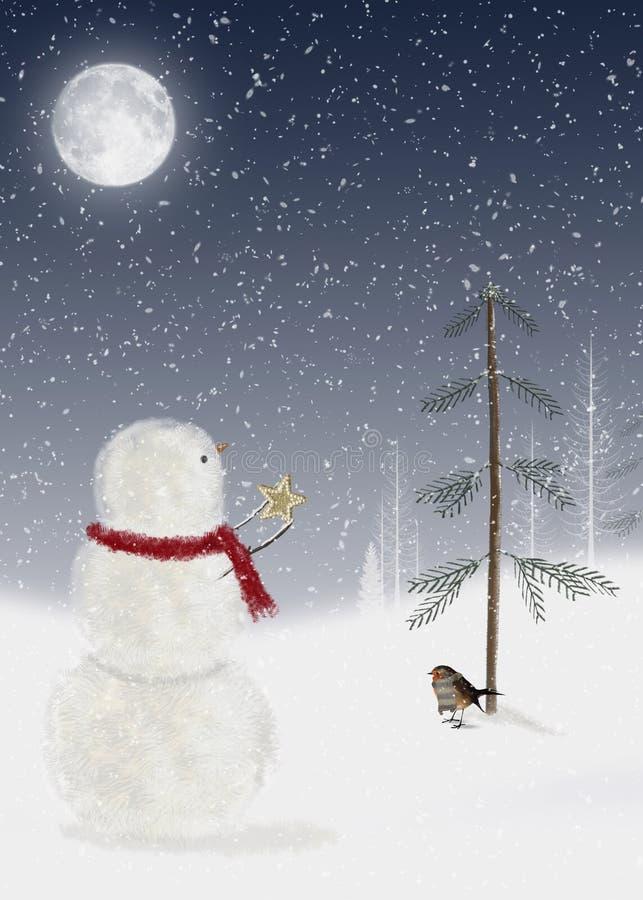 Boneco de neve com estrela do Natal ilustração do vetor