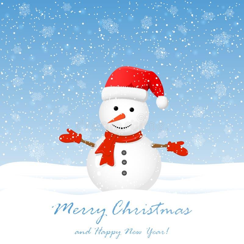Boneco de neve com flocos de neve ilustração stock