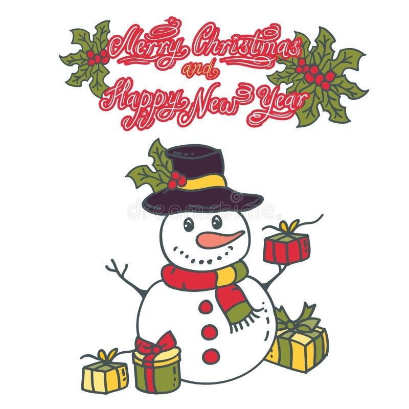 Boneco de neve com ilustração do vetor dos presentes no fundo branco ilustração stock