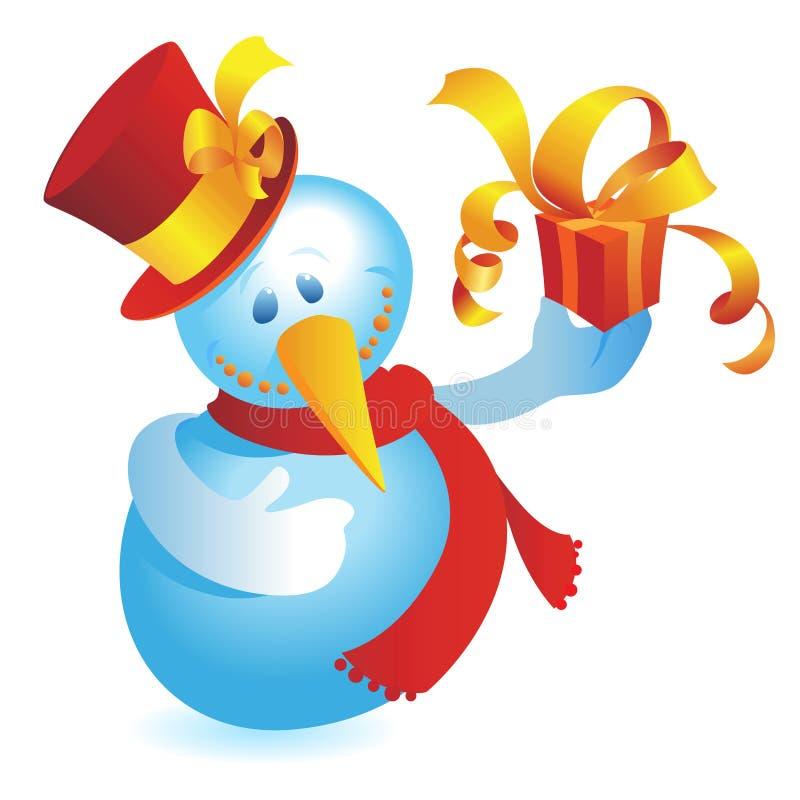 Boneco de neve com presente ilustração stock