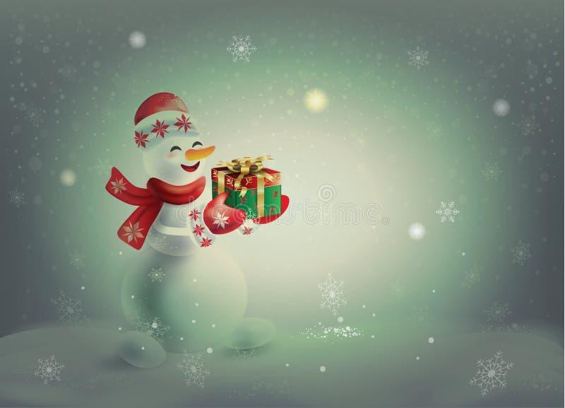 Boneco de neve com presente, vintage nevado da paisagem do Natal ilustração stock
