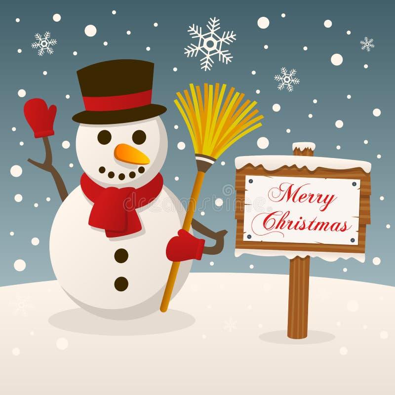 Boneco de neve com sinal do Feliz Natal ilustração stock