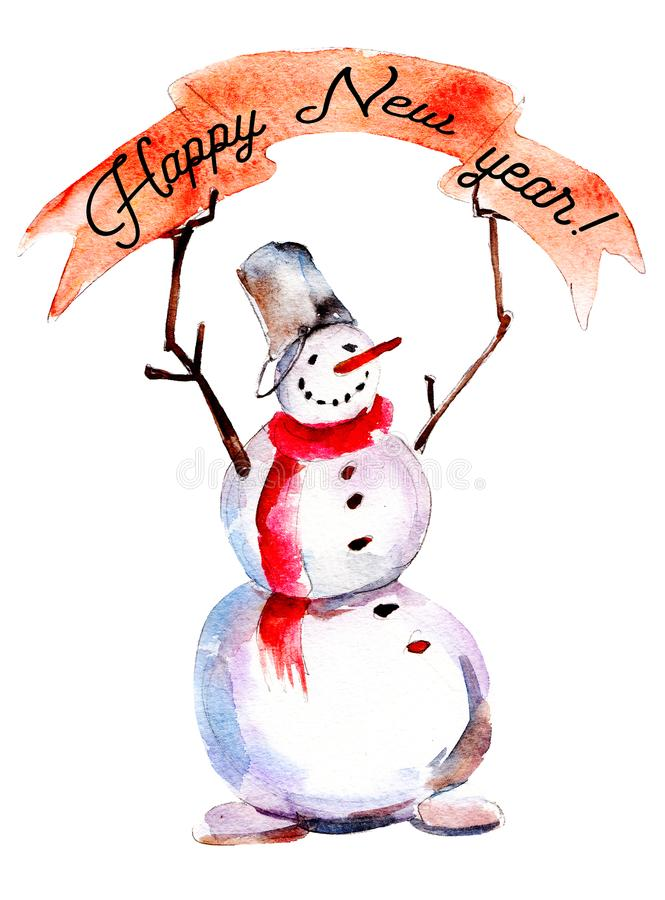 Boneco de neve com ` vermelho do ano novo feliz do ` do cartaz e do texto, ilustração do Natal da aquarela ilustração royalty free