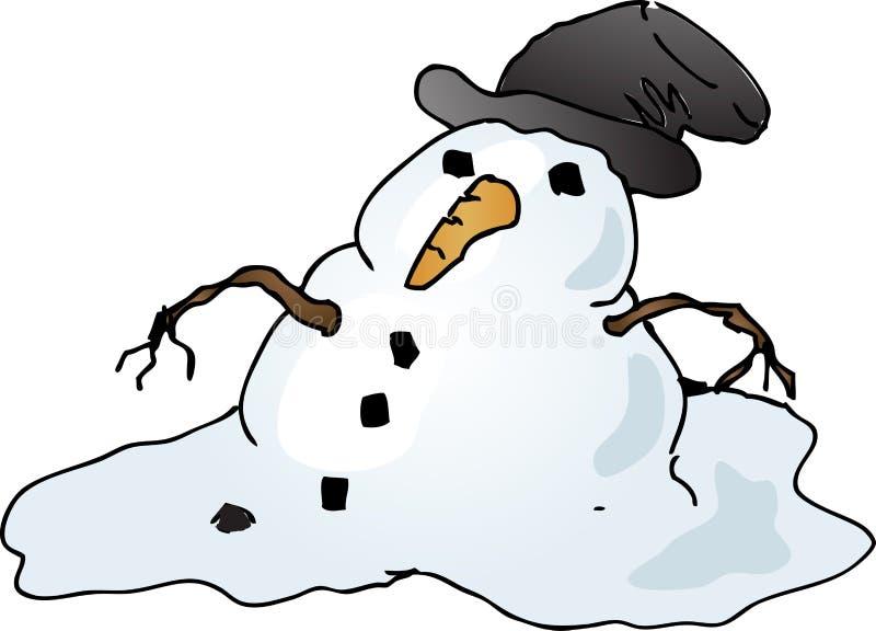 Boneco de neve de derretimento ilustração royalty free