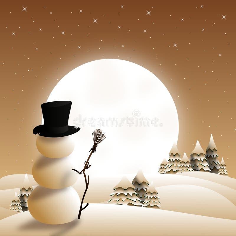 Boneco de neve do cartão de Natal ilustração royalty free