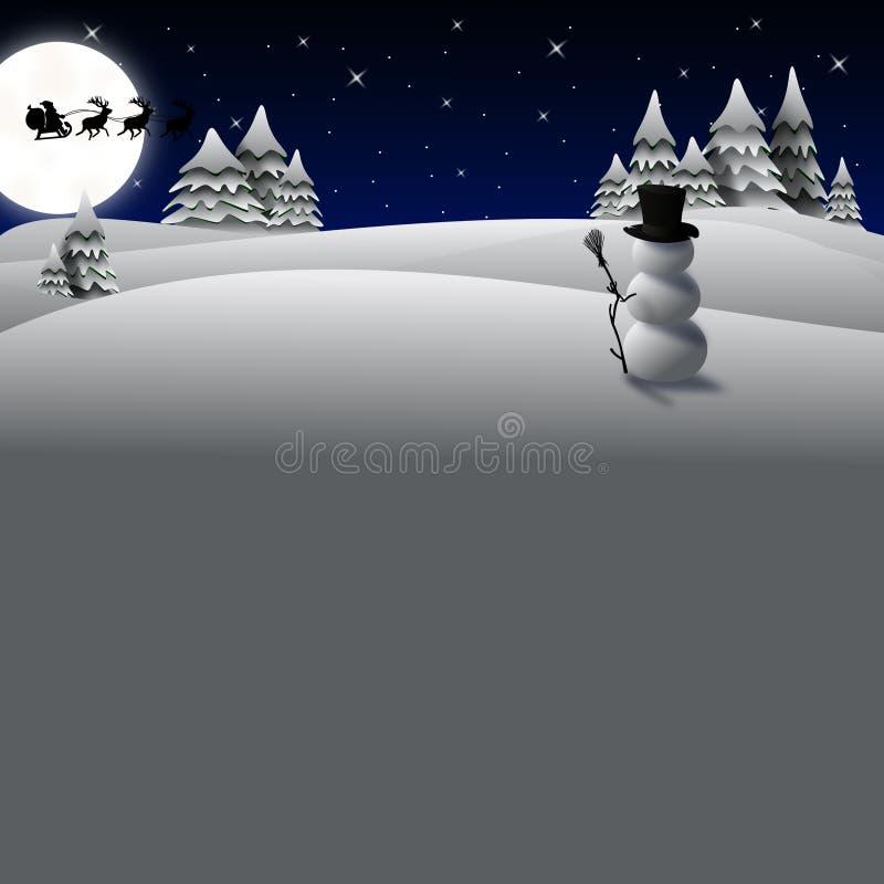 Boneco de neve do cartão de Natal ilustração do vetor
