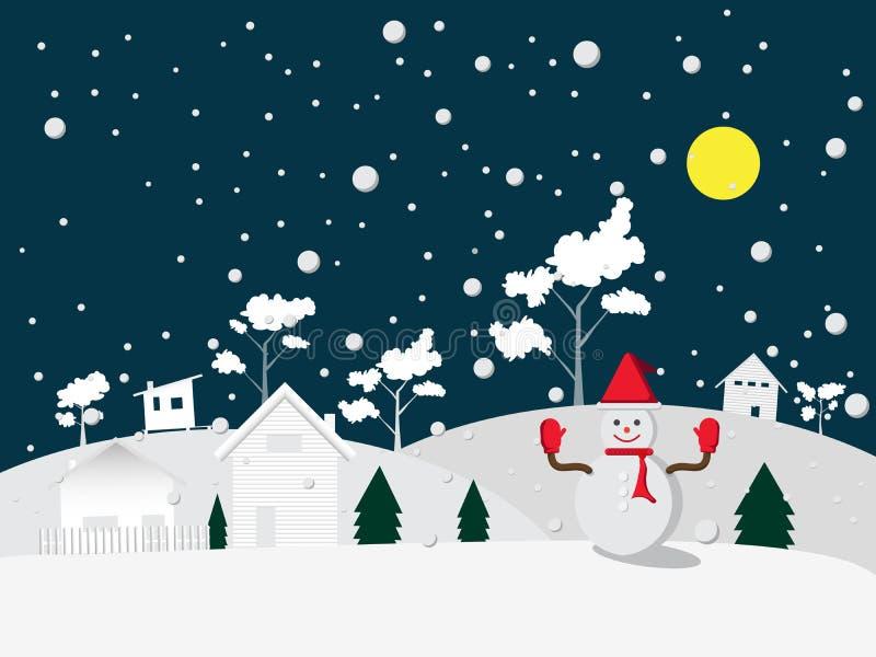 Boneco de neve do Feliz Natal no vermelho do chapéu e da luva no vetor do fundo da noite do inverno fotos de stock royalty free
