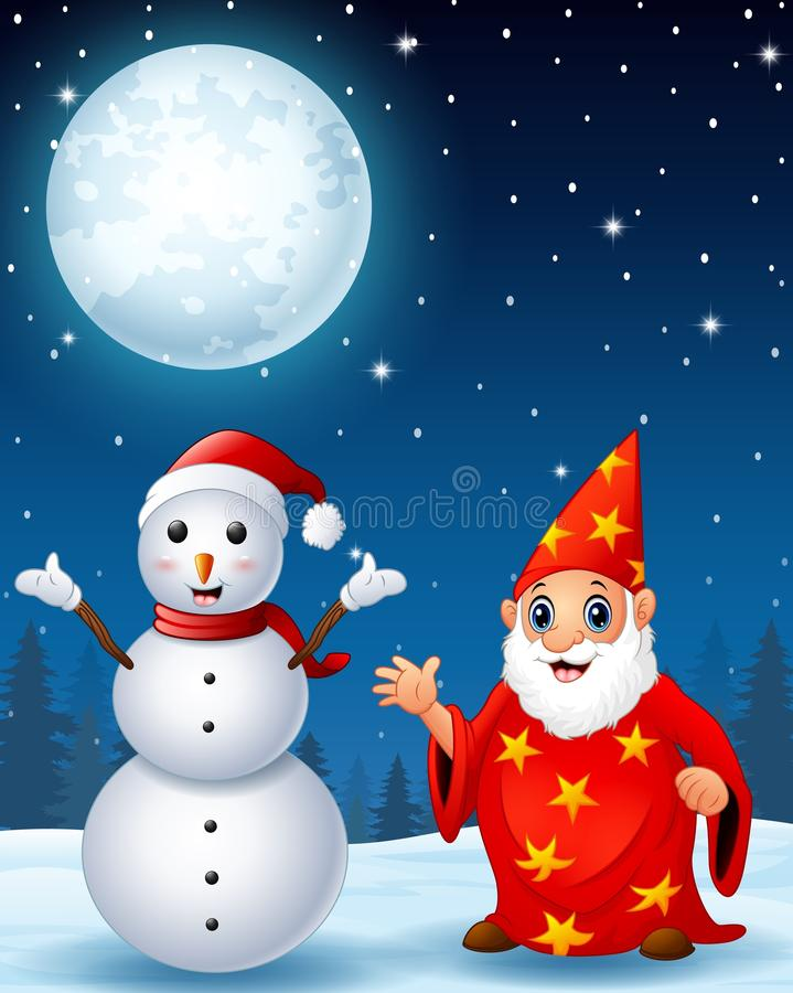Boneco de neve do Natal com o feiticeiro idoso vermelho no fundo da noite do inverno ilustração stock