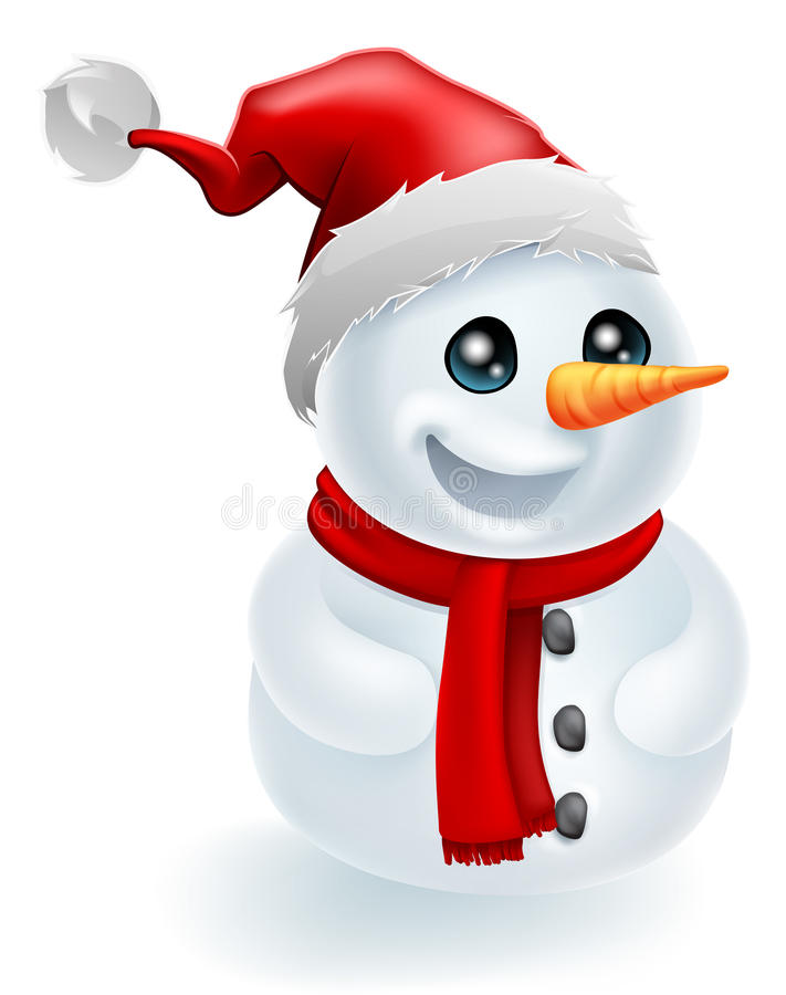 Boneco de neve do Natal do chapéu de Santa ilustração royalty free