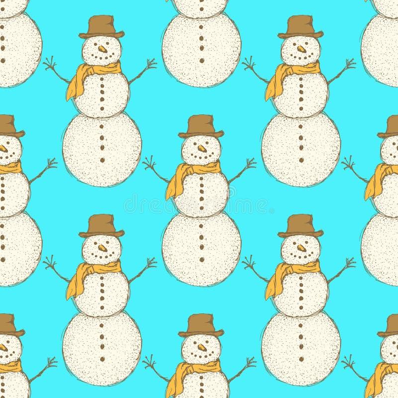 Boneco de neve do Natal do esboço no estilo do vintage ilustração stock