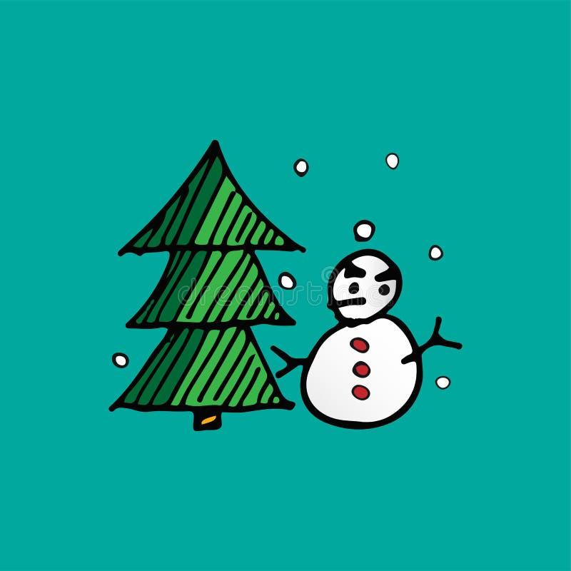Boneco de neve do Natal e de árvore do Xmas vetor da garatuja feriado e conceito do festival Tema do Feliz Natal e do ano novo fe ilustração royalty free