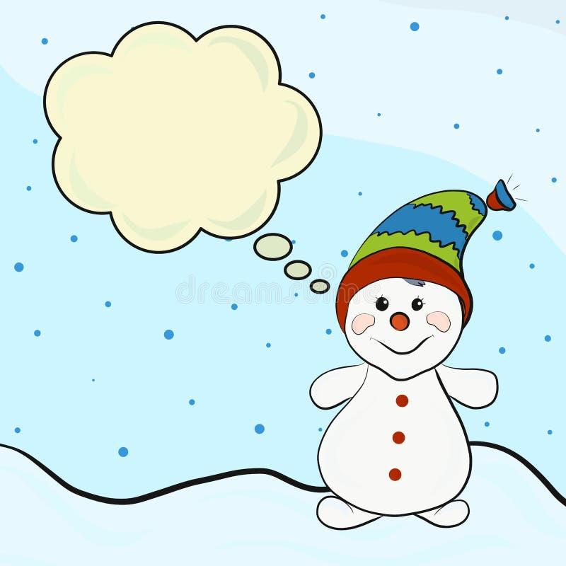Boneco de neve do Natal feliz ilustração do vetor