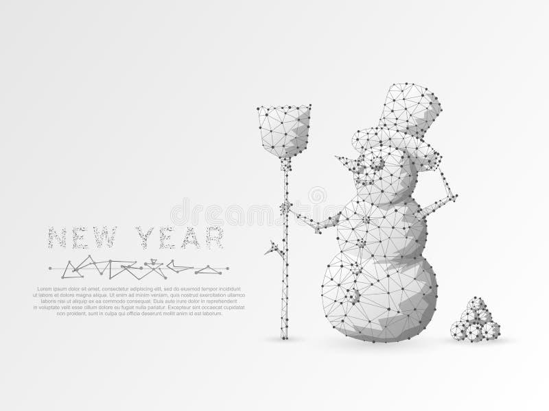 Boneco de neve do origâmi com uma vassoura Conceito poli do wireframe do espaço poligonal baixo Estrutura da conexão Vetor ilustração royalty free