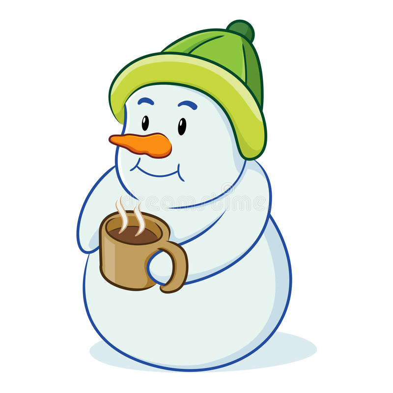 Boneco de neve dos desenhos animados com bebida ilustração royalty free