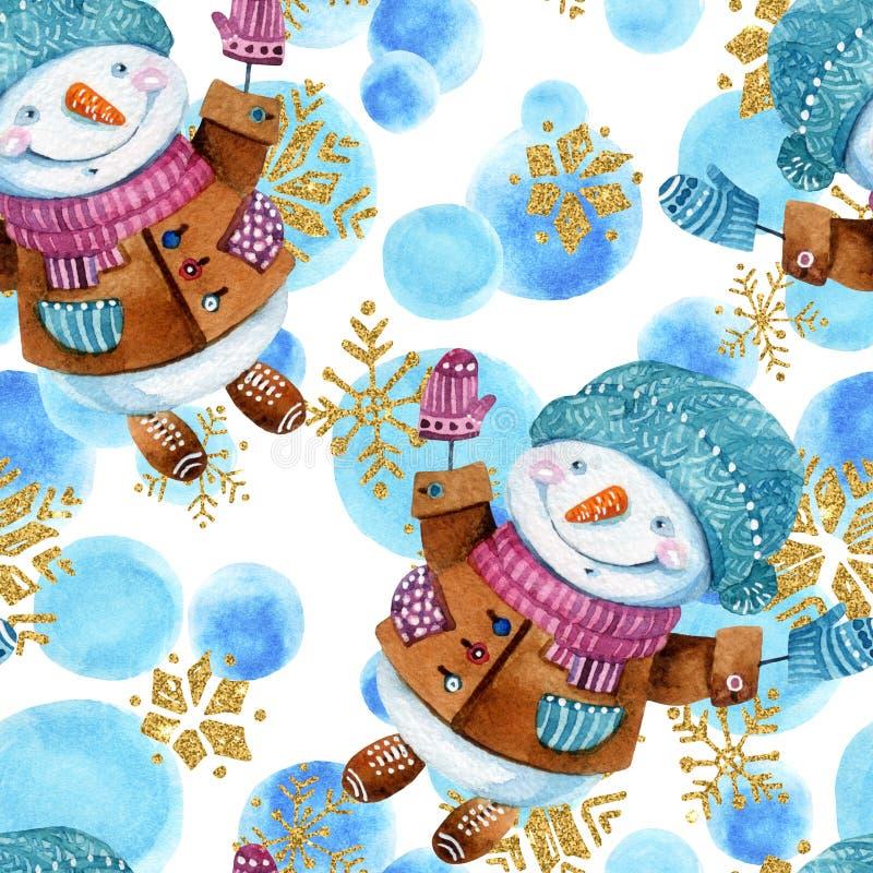 Boneco de neve dos desenhos animados da aquarela no fundo criançola do estilo ilustração stock