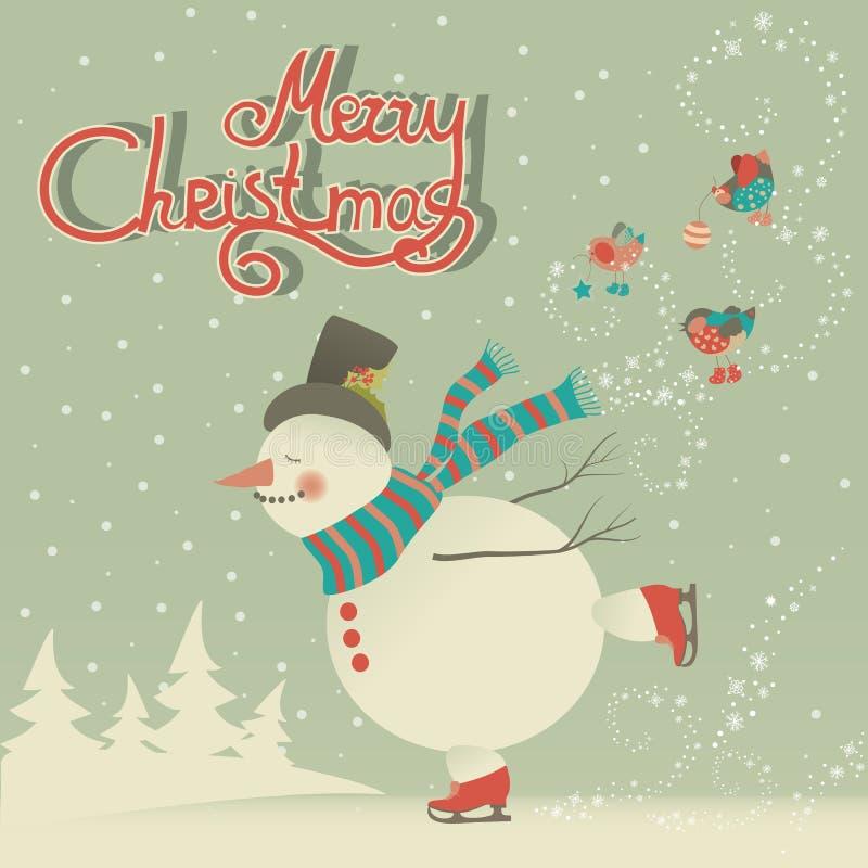 Boneco de neve dos desenhos animados da patinagem no gelo ilustração royalty free