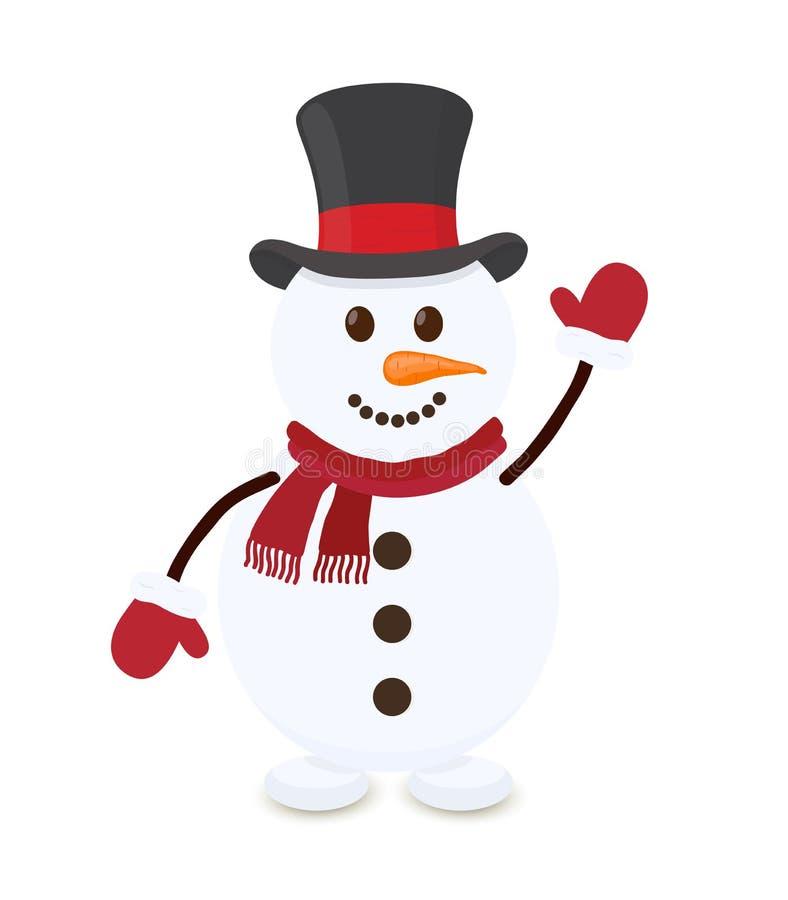 Boneco de neve dos desenhos animados do vetor, caráter alegre do Natal fotos de stock