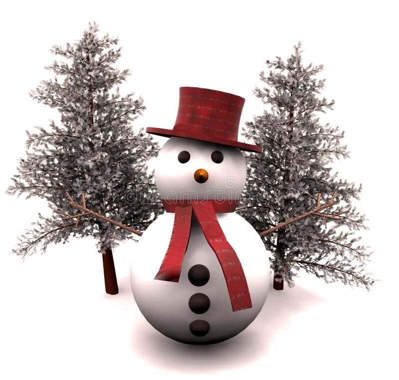boneco de neve e árvores snow-covered - 3D ilustração do vetor