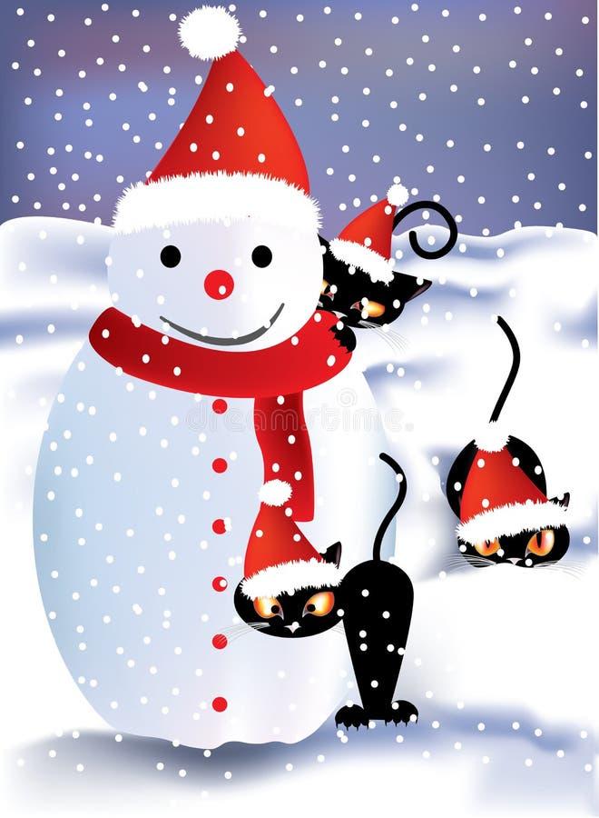 Boneco de neve e gatinhos brincalhão ilustração do vetor