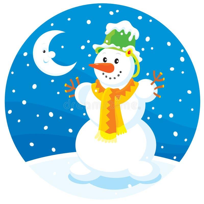 Boneco de neve e lua ilustração royalty free