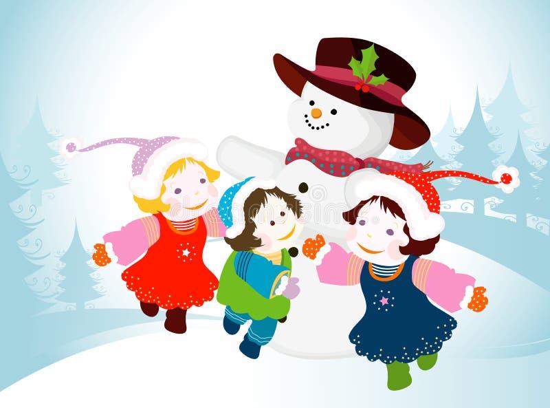 Boneco de neve e miúdos ilustração stock
