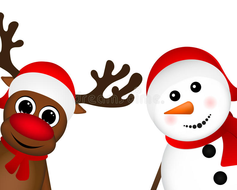 Boneco de neve e rena que espreitam lateralmente ilustração royalty free
