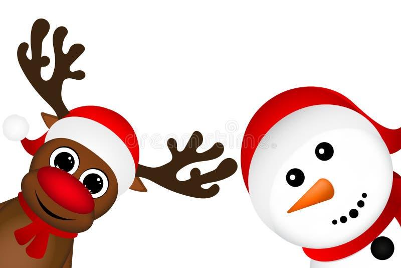 Boneco de neve e rena que espreitam lateralmente em um fundo branco ilustração stock