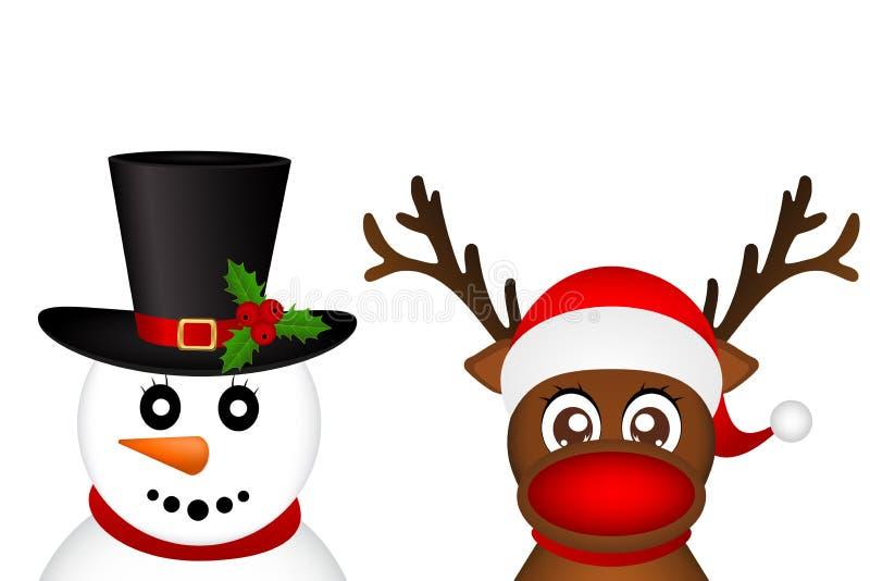 Boneco de neve e rena que espreitam lateralmente em um vect branco do fundo ilustração stock